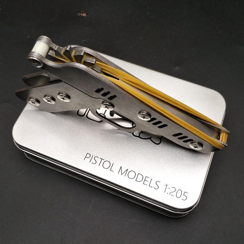 무료 배송 스테인레스 스틸 고무 밴드 총 버스트 금속 모델 조립 접이식 투석기 아이 장난감 잡아