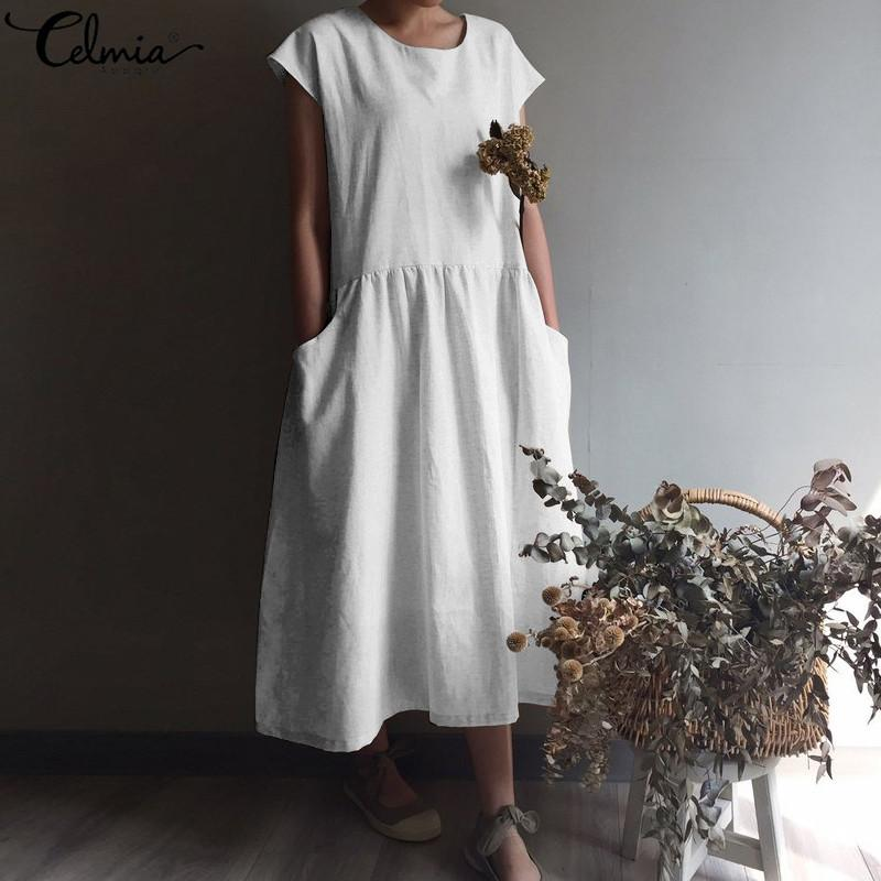 Celmia Women Vintage Linen Dress 2019 Summer Plus Size Sundress Ladies Short Sleeve Casual Loose Pleated Shirt Vestidos Robe 5XL T200117