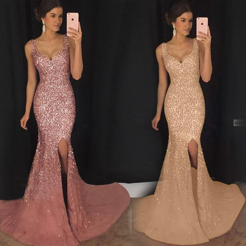 2019 Elegant Long V Prom Dresses Sleeveless Sweep Train sequined Side Slit A-line Formal cheap Evening Dresses Gown vestido de noche