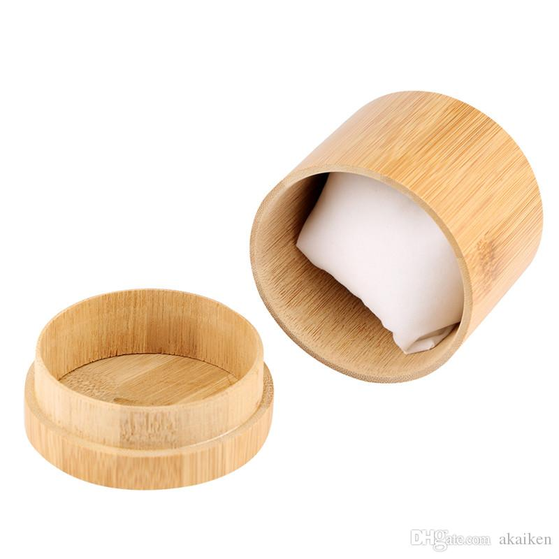 Antique 1pc Round Wooden Box Watch Ring Necklace Bracelet Storage Bambo Jewelry Display Holder Boxes Case