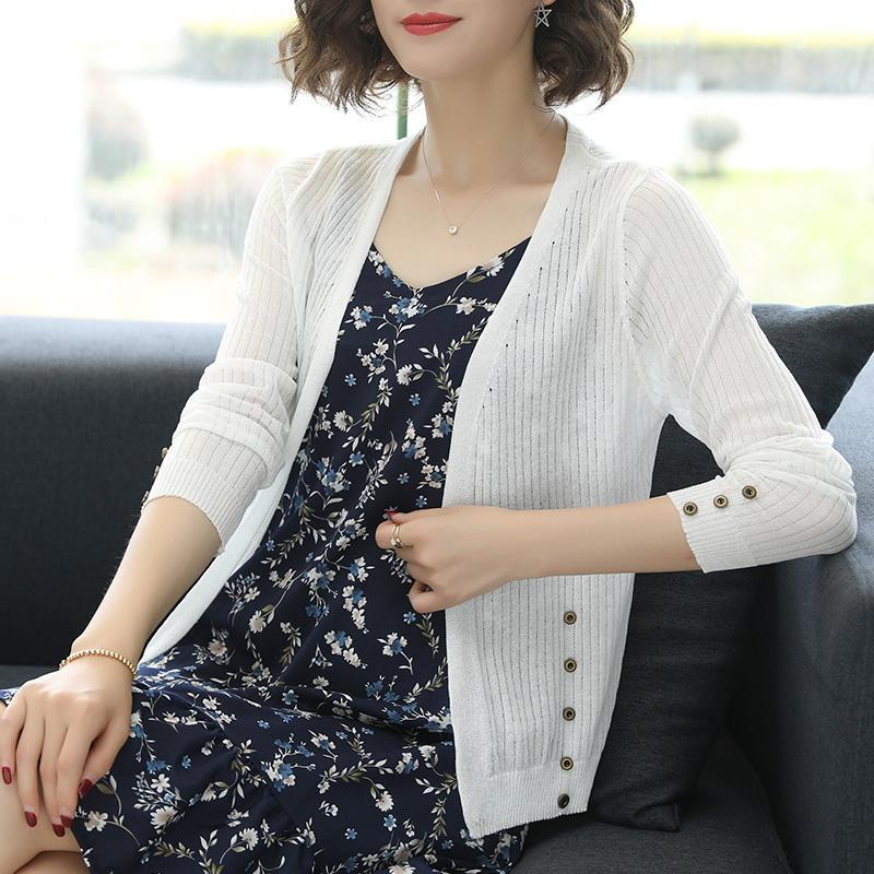 Sommer weiblich Hohl Thin Strickjacke elegante Dame See durch hohlen Knit Outwear Freies Verschiffen