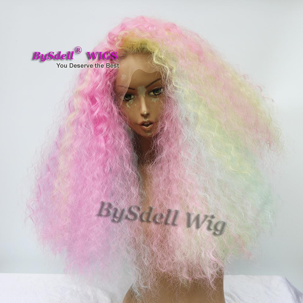 unicorn pastel rainbow color hair wig synthetic lace front wigs kinky curly wig for African American black mermaid cosplay women