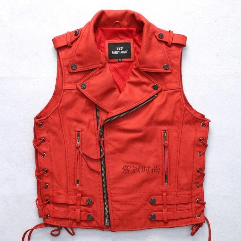 hakiki erkek moda erkek S-XXXL yelek ayarlanabilir bel ince uygun kolsuz deri ceket erkek motosiklet kırmızı