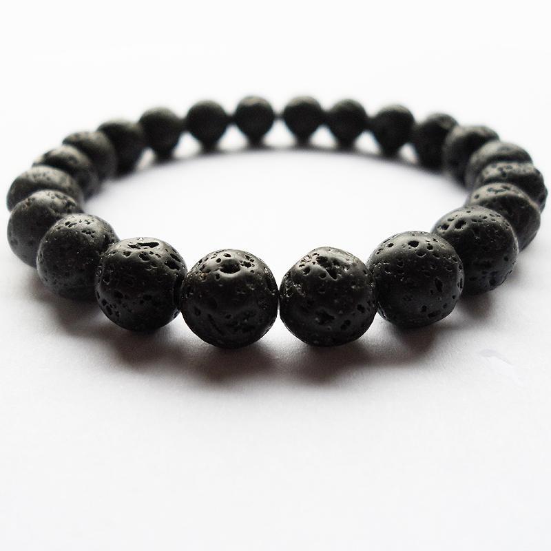 Bracciale con perline di lava vulcano naturale nero 8mm per uomo, bracciale con perline di perline nero puro naturale 8mm (22PCS)