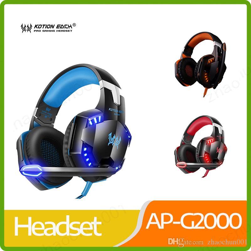 Di nuovo ogni stereo G2000 profonda cuffia bassa Circondato Over-Ear Gaming Headset fascia auricolare con la luce per PC LOL gioco