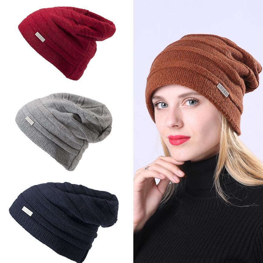 Woman Knitted Skull Hats Fashion Winter Warm Ski Crochet Cap Causal Outdoor Knitting Beanie Cap Party Hat TTA1641