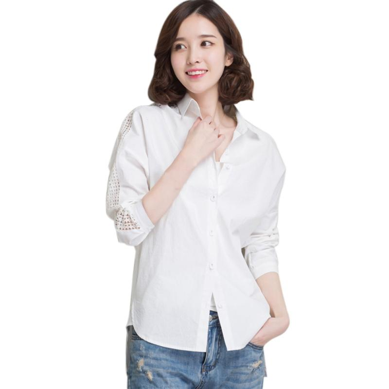 White Elegant Hollow Out Long Sleeve Button Blouse Autumn Women Workwear Shirt Top