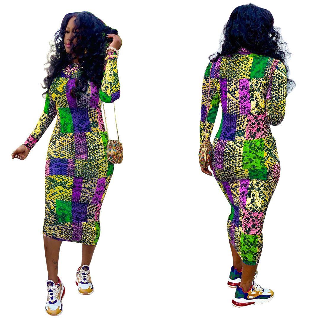 Femmes bateau libre 2019 Automne Mode Snakeskin Imprimer Robe crayon Casual Slim Bodycon Midi Robes Club Wear XXL