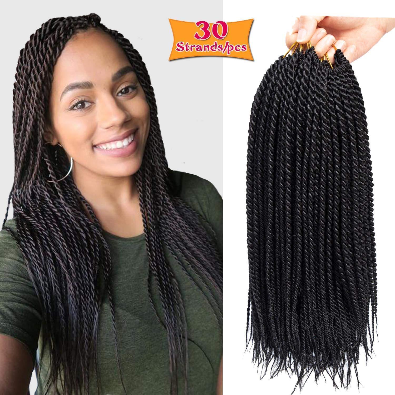 18 pollici 30 supporti / confezione trecce senegalese all'uncinetto intrecciate disponibili per le donne nere Fibre ad alta temperatura trecce sintetiche estensioni dei capelli
