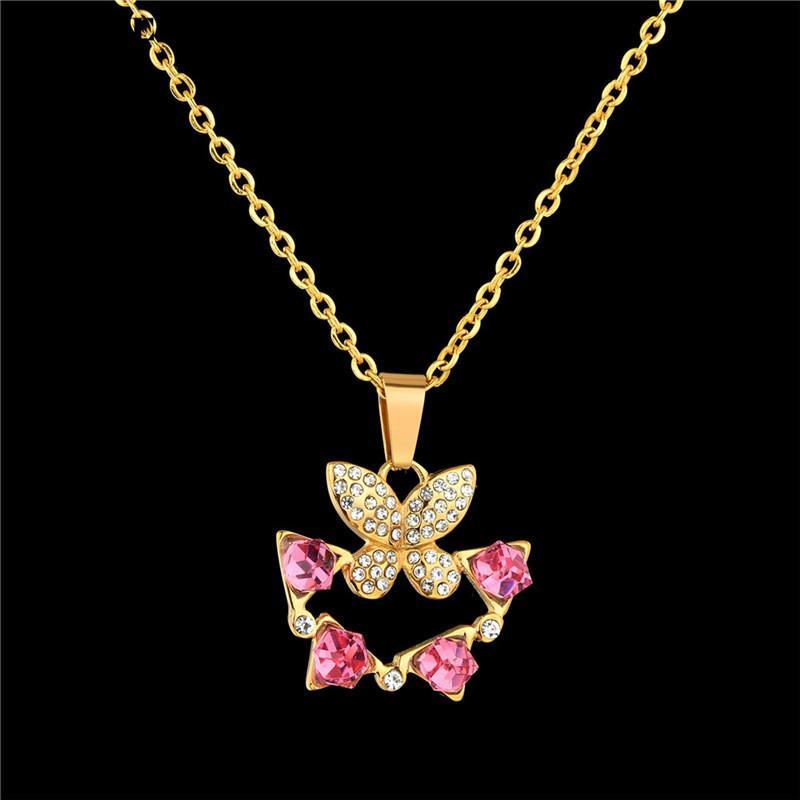 UAGE الكورية لطيف سلسلة الفراشة قلادة للنساء لون الذهب قلادة طويلة قلادة بيان أزياء سحر مجوهرات هدايا