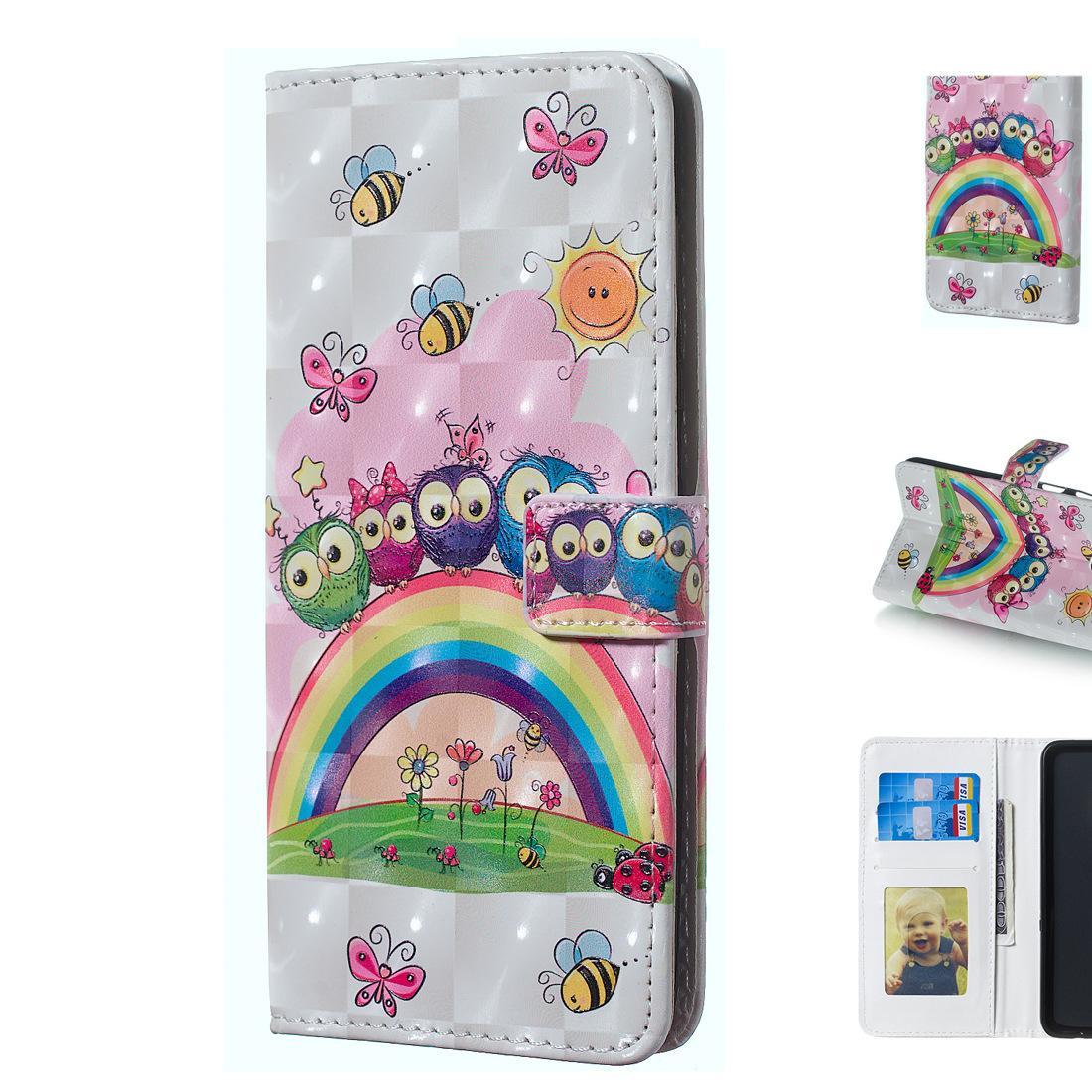 Beau téléphone portable protéger cas avec cadre photo 3D Design Owl famille soleil Rainbow Flowers Day
