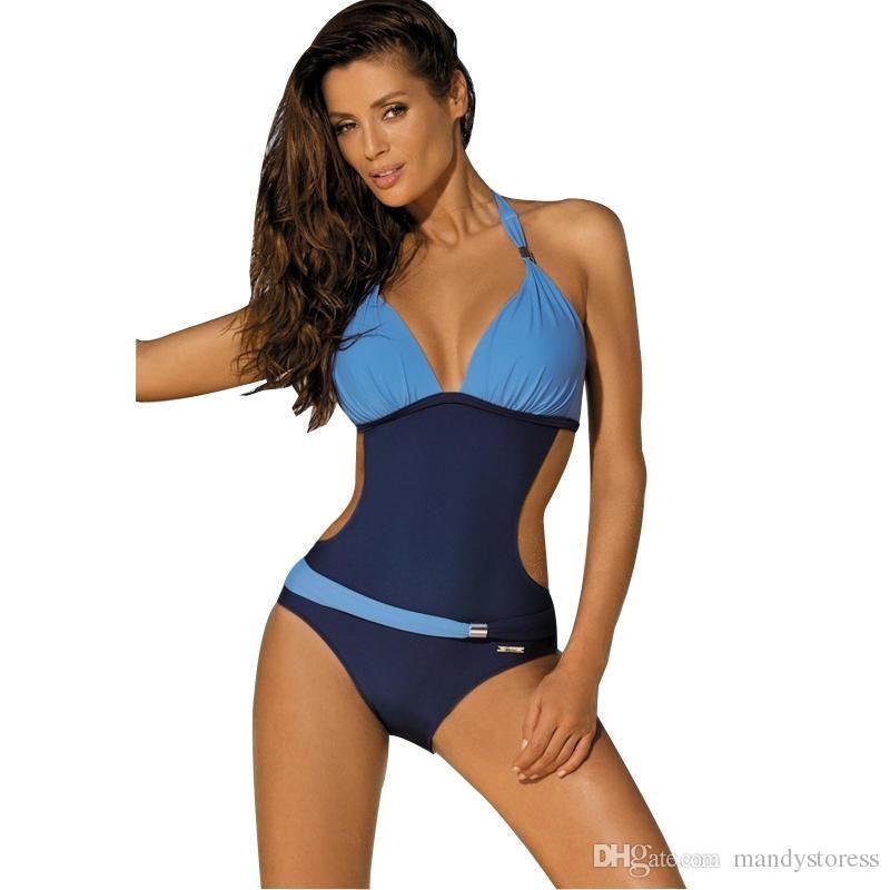 الجملة-قطعة واحدة المايوه النساء ملابس السباحة trikini المايوه رفع monokini مبطن بدلة السباحة للنساء الرسن بحر