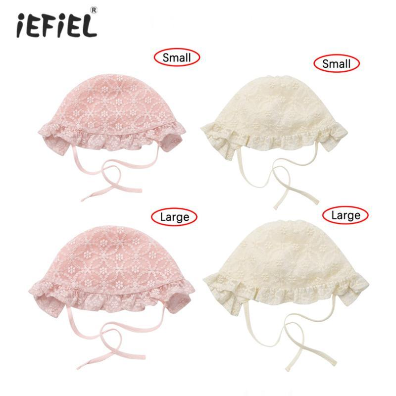 Fashion Baby Girl Handmade Adjustable Lace-Up Baby Hat Breathable Eyelet Lace Sunbonnet Hat Cap Beanie Newborn Photography Props