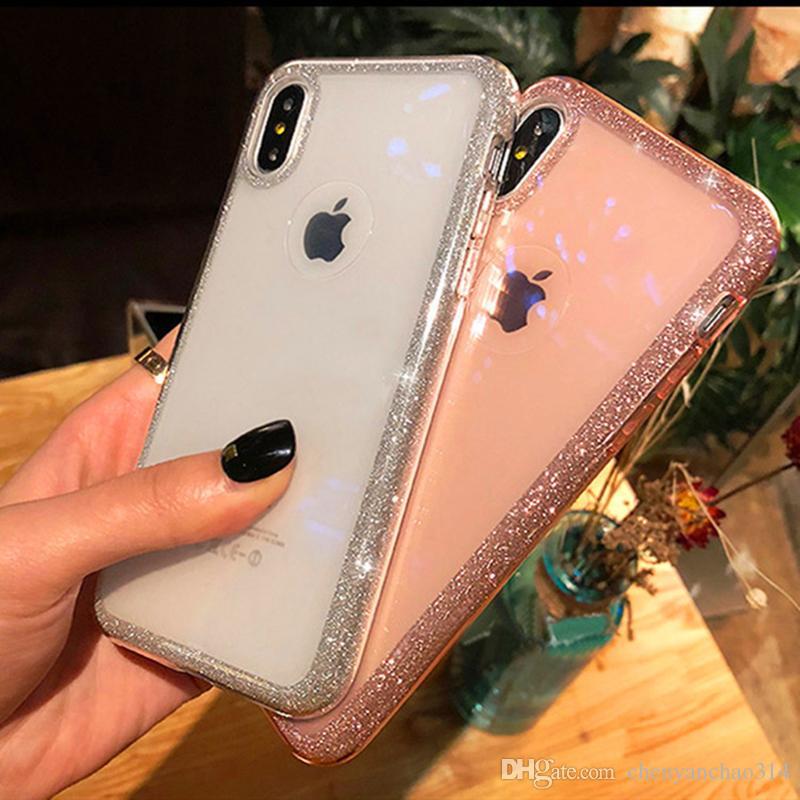 Cas de téléphone antichoc de poudre de paillettes de luxe pour iPhone X XS XR XS Max 6 6S 7 8 Plus couleur de bonbons Doux Diamand Cadre Couverture Arrière