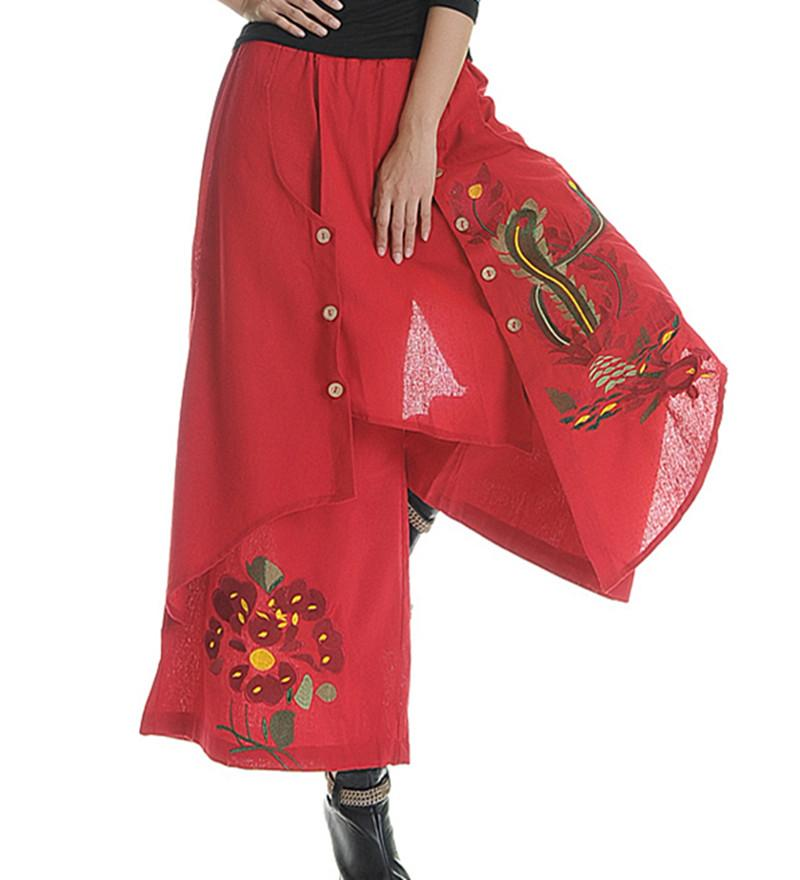 Womens Mexi Floral Embroidery BOHO Wide Leg Pants Hippie Loose Trousers New Sz