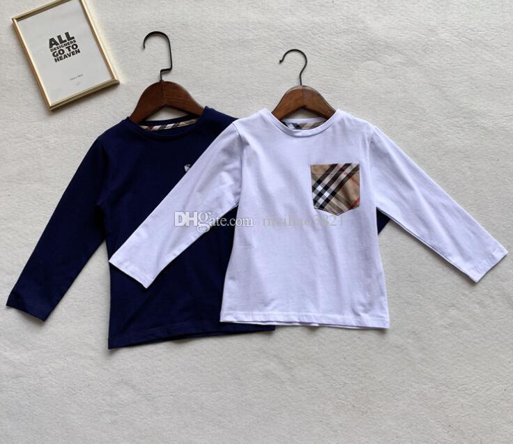 Детский дизайнер детской одежды для мальчиков и девочек с карманами для шитья Новые детские футболки с длинными рукавами Fashion Brand tag Топы