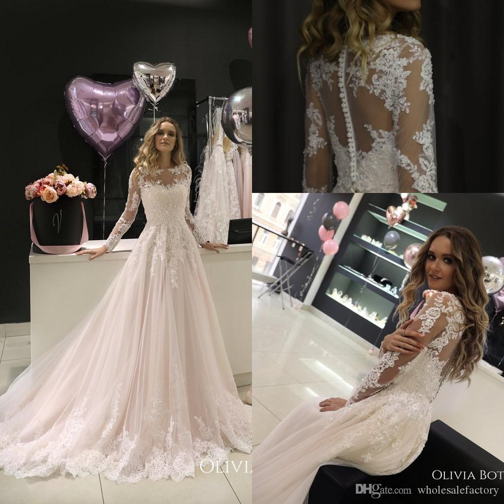 2019 Elegant Sheer Long Sleeves Lace A Line Wedding Dresses Tulle Lace Applique Beaded Sweep Train Wedding Bridal Gowns With Buttons vb