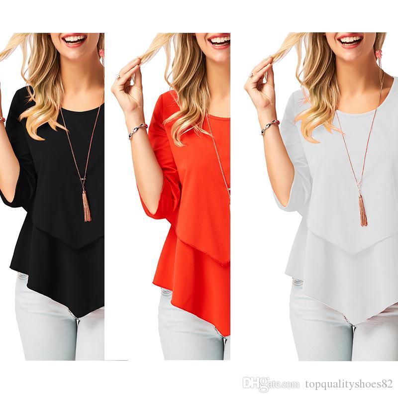 2019 mujeres de la manera 3/4 mangas llanas Flowy camisas de volantes Hem túnica tops Blusas tamaño S-XL