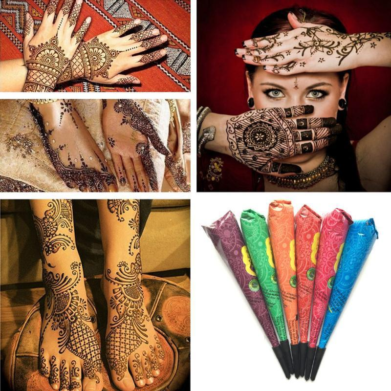 1PC Color Henna Tattoo Paste Indian Waterproof Body Tattoo Paste Temporary useful Body Art Paint Cream Tattoo tool TSLM1