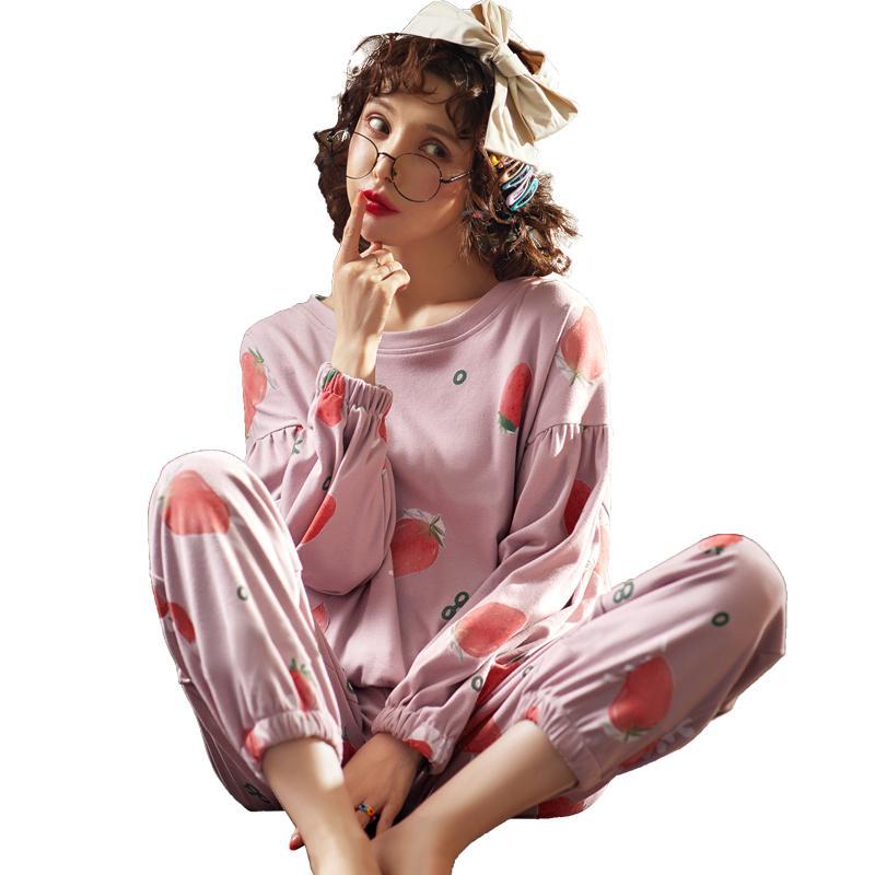 Neueste Pyjamas Frauen Herbst Und Winter 100% Baumwolle Langarm Nachtwäsche Korean Pyjama Femme Nette Casual Homewear Set