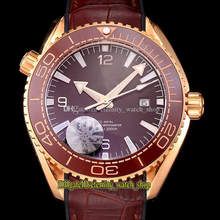 Planet Ocean 600m Co-Axial 215.63.40.20.13.001 Ceramics Bezel Red Dial Miyota Automatic Mens Watches 316L Steel Case Leather Strap