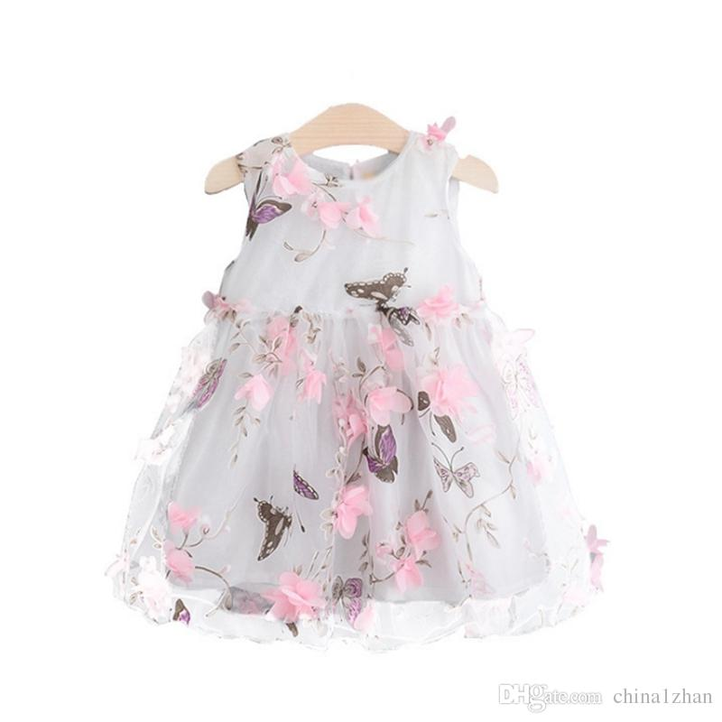 Ropa de diseñador para niños Vestidos de flores para niñas Vestido de princesa estampado de mariposa Sin mangas Niña pequeña Vestidos de tul Boutique Ropa para niños 4125