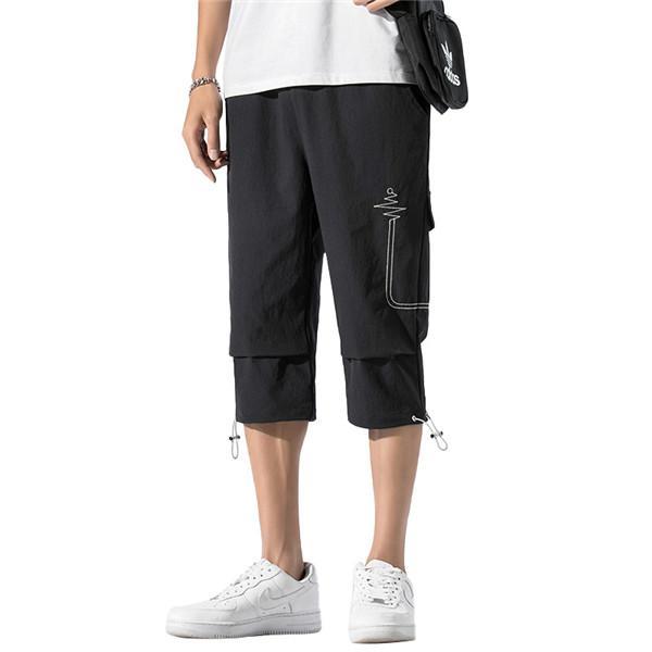 الرجال Capris السراويل جيب الجانبية الرباط إغلاق عارضة الأزياء السراويل تنفس الرياضة السراويل الشاب سروال