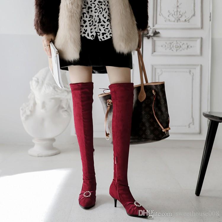 Lady Flat Platfrom Over Knee High Boot Sweater Winter Warm Roma Casual Shoes US