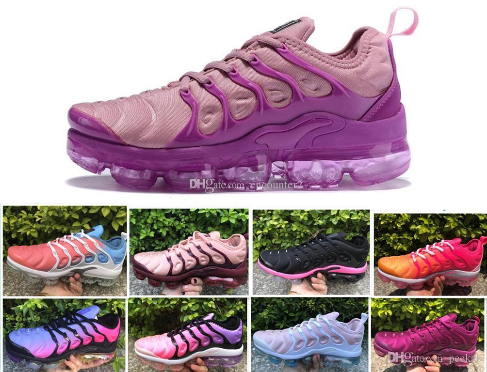 2019 nouvelles TN plus de femmes Chaussures de course blanc raisin fille rose violet des femmes de sport féminin de plein air d'espadrilles 5,5-8,5
