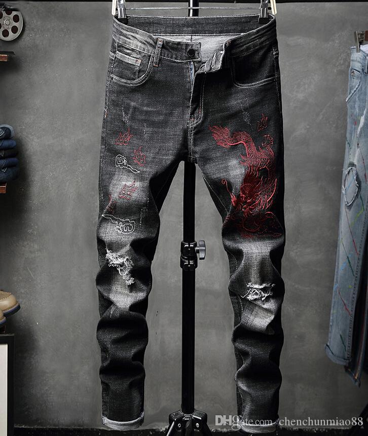 Мужские джинсы осень Вышитых Брюки Hole-Ломая джинсы Индивидуального Нищего Упругого Досуг джинсовых (9)