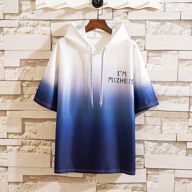 Men's Hoodies Casual Mens Hooded Pullover Sweatshirt Fashion Men Gradient Color Short Sleeves Hoodie Plus Size M-3XL