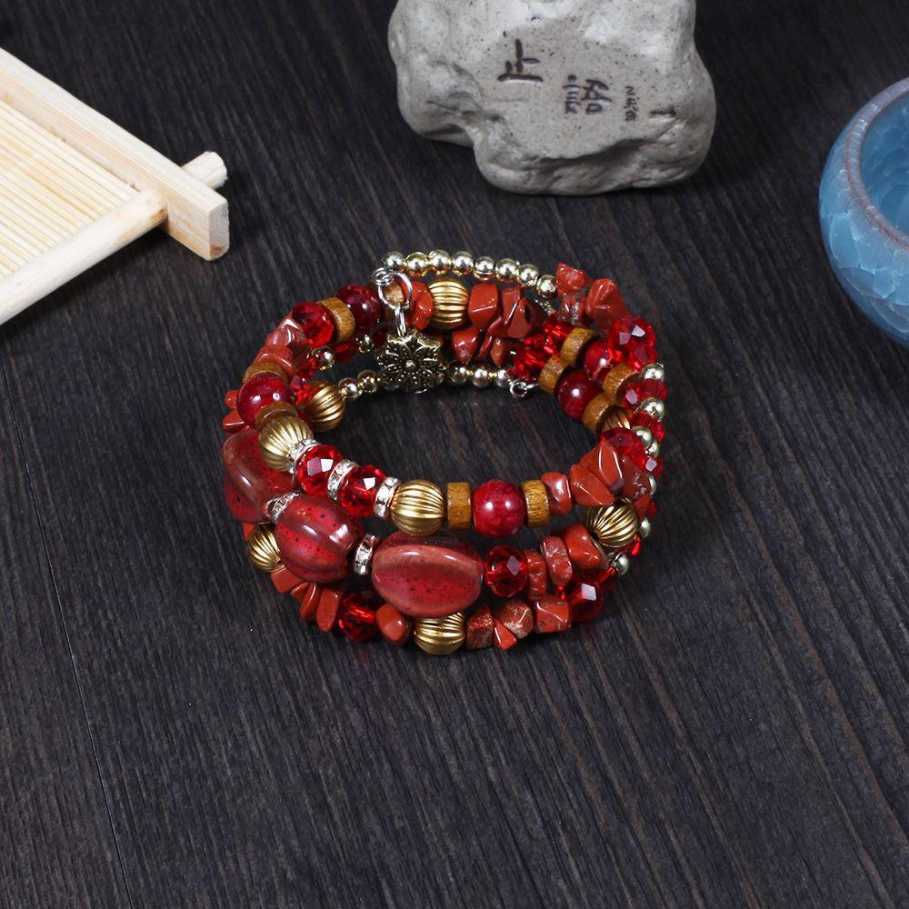 2020 12 Styles Fashion Multilayer Bracelet Agate Beads Bohemian Gravel Handmade Bangle Charm Bracelet Jewelry For Women Accessories M304R F