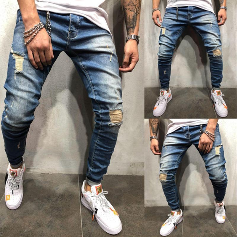 Jeans Hommes Automne Hiver Jogger Patchwork Casual Cordon Jogging Pantalon Pantalon Vaqueros Hombre Plus La Taille Hommes Jeans