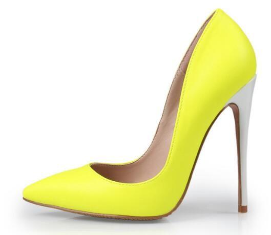 Real Photo Sommer Elegante Fluoreszenz Farbe Spitzschuh Kleid Schuhe Slip On Yellow Hohe Dünne Ferse Flache Pumps Hohe Qualität