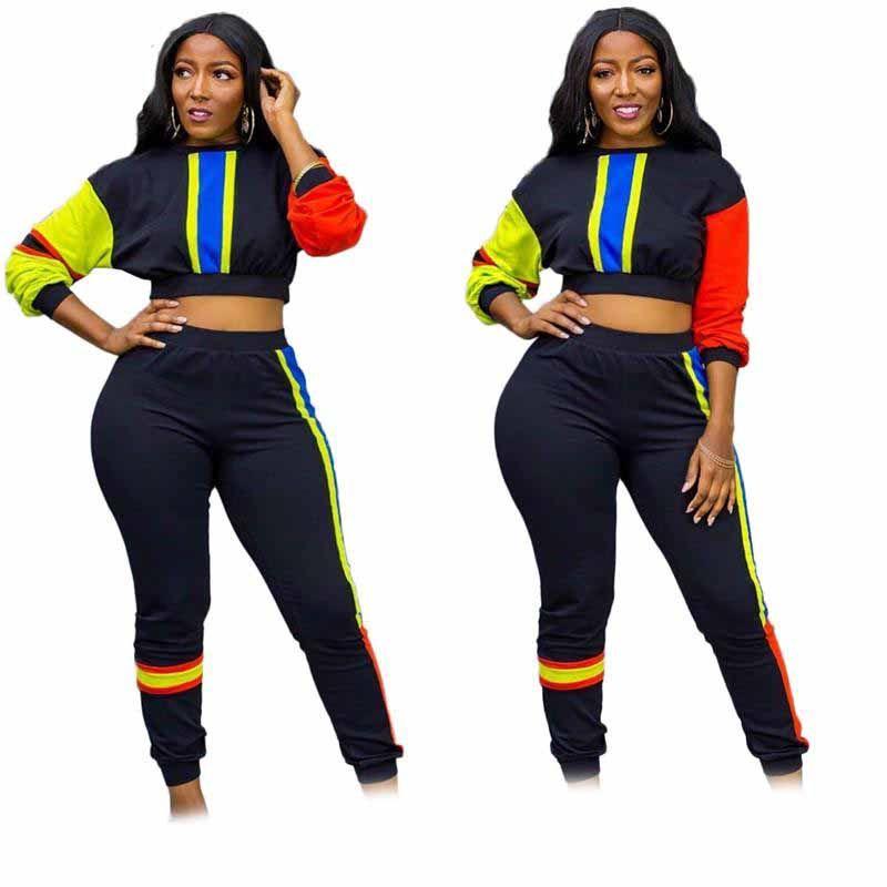 Newwomens iki parçalı set eşofman gömlek pantolon kıyafetler uzun kollu spor gömlek pantolon eşofman kazak kazak tayt spor sıcak