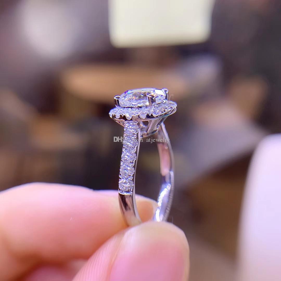 Падение доставка муассанит бриллиантом круглой обручальное кольцо изящных ювелирных изделий 18-каратного белого твердого золота ювелирные изделия Кольца для женщины штамп AU750 оптом