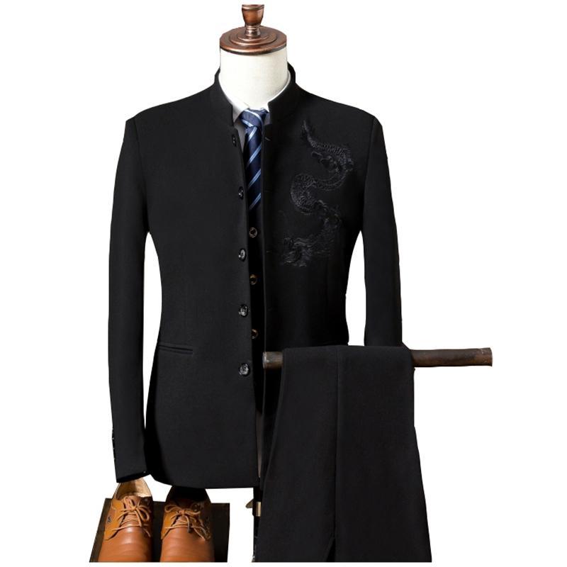 Männer Formelle Anzüge Hosen Chinesische Tunika Anzug Neue Ankunft Traditionelle Mandarin Gedruckt 3 Stück set männer Jacke Hosen Weste