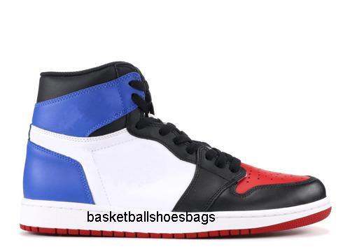 Zapatos para hombre de las zapatillas de deporte de baloncesto con la caja 1s Sombra Prohibida Top 3 del dedo del pie roto Tablero de zapatos deportivos hombres Bred US7-13