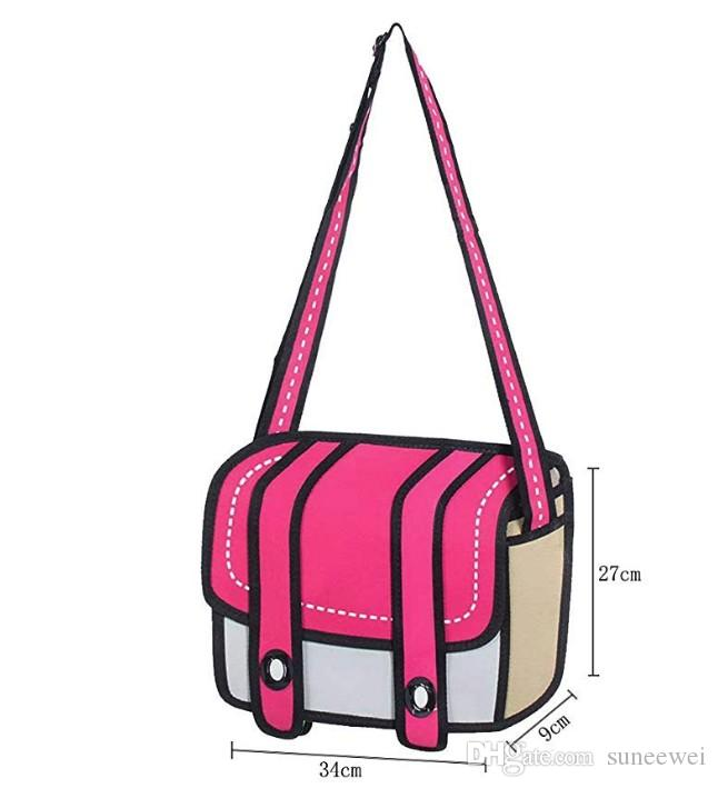3D Jump Style 2D Drawing From Cartoon Paper Comic Shoulder Bag Messenger