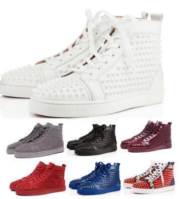 Rouge Bas Spikes Orlato Hommes Femmes Sneaker 2020 New Fashion Luxury Designer Flat White clouté en cuir véritable haut à bas prix Chaussures Casual