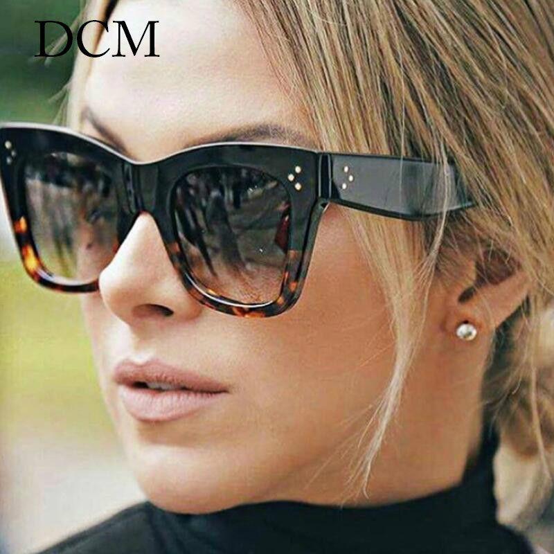 DCM Мода SquareLeopard Солнцезащитные очки Урожай Женщины Марка пластиковая рамка дамы солнцезащитные очки UV400 Feminino