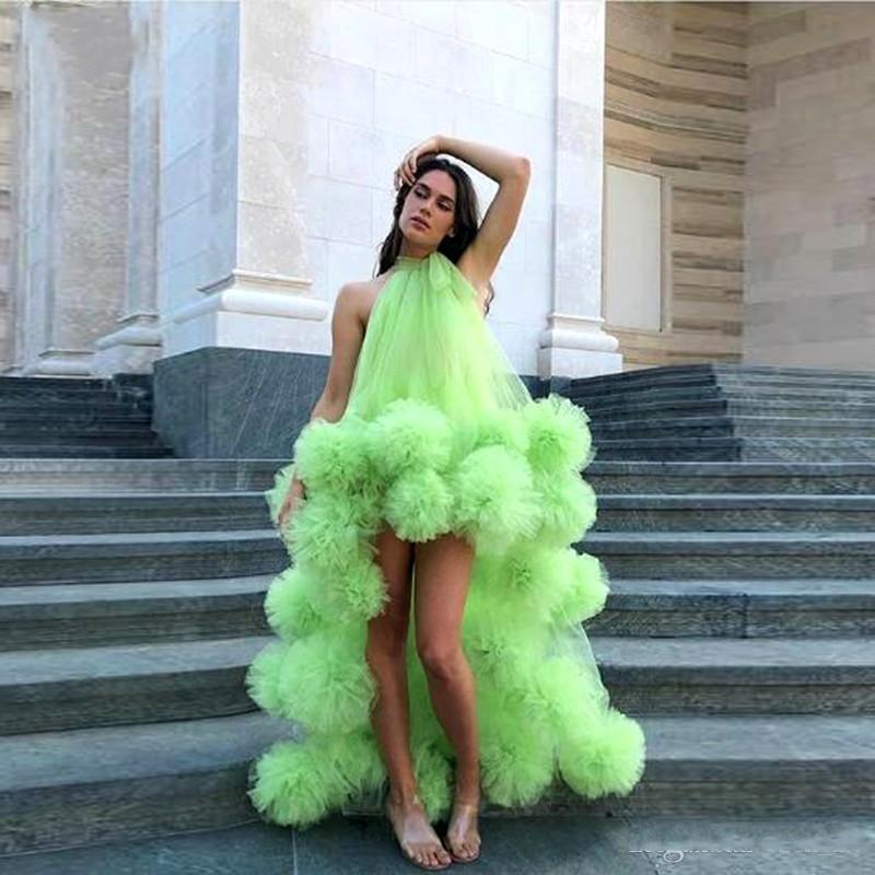 Green High Low Prom Dresses Halter Tiered Ruched Ball Tulle Cocktail Party Dress Custom made Simple Beach Boho Evening Gowns African Wear