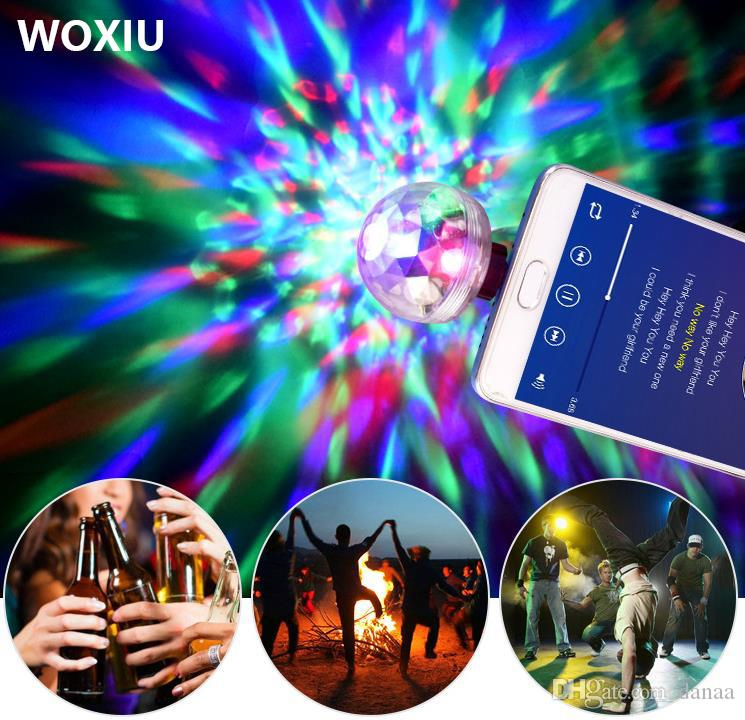 WOXIU led Voice control small magic ball light RGB mobile phone usb crystal magic ball stage light 3w mini colorful lights