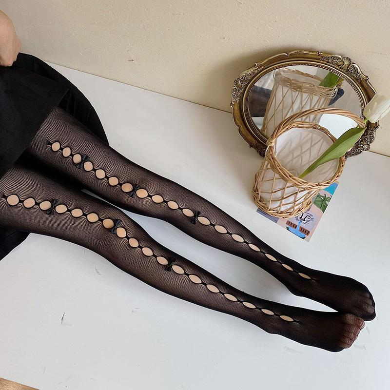 Merletto sexy calze da donna Lolita sottile Calze a rete Calze Bowknot Nylon calze femminili trasparente di alta Collant Abito Calcetine