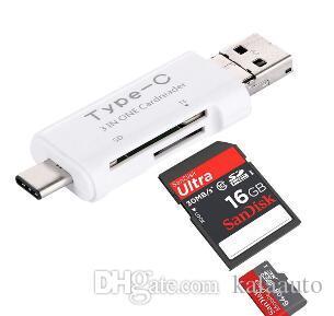 새로운 3 1 USB 타입 C USB OTG USB 카드 리더기 판매 삼성 전자 Note7 iPhone7 Macbook 노트북 용 Micro SDHC SD TF Type-C