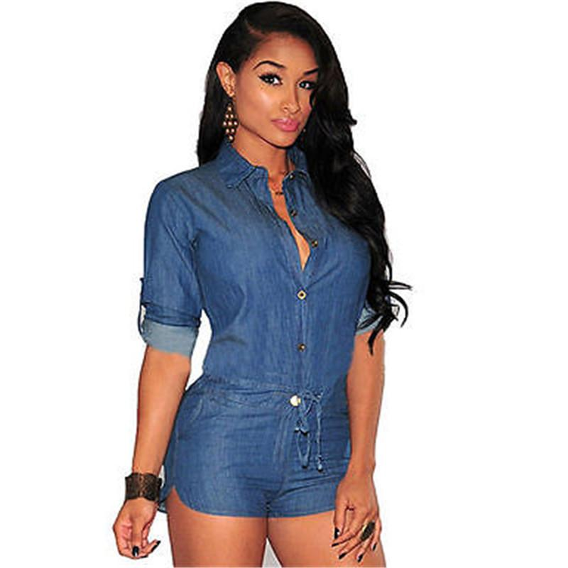 S-XXXL Women Plus Size Summer Denim Jumpsuit Shorts T-shirt+Short Overall Casual Jeans Romper Blue Color