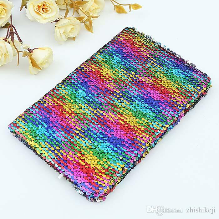 Universal Sequins Diary Notebook Stationery A5 Sequins Writing Notebook Student Glitter Sequins Diary Notepad Daily Memos A5 DIY Notebooks