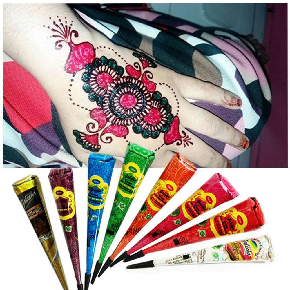 White Red Black Henna Cone Kit Mehendi Kit Body Painting Art Akvagrim Henna Tool with 10 Sex Tattoo Stickers