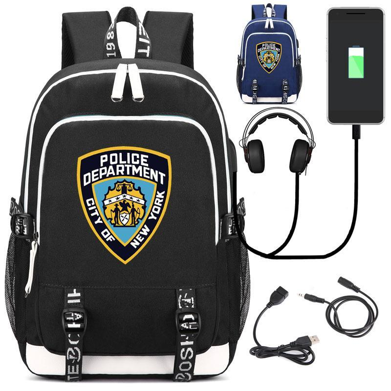 Hot Sale NYPD Backpack with USB Charging Port and Headphone, Laptop Backpack Travel Computer Bag