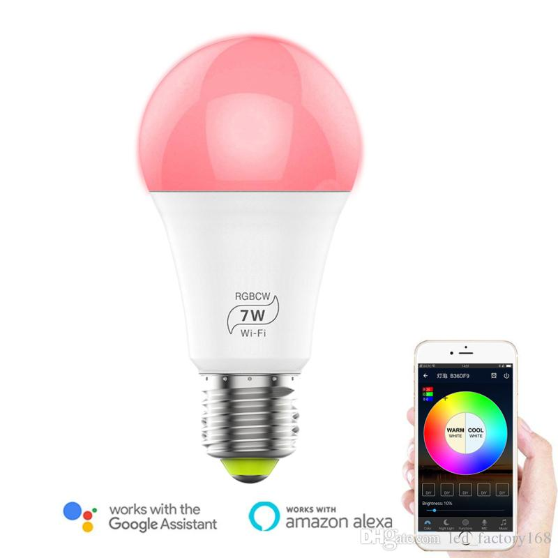 Smart WIFI LED Bulb RGB 7W Dimmable LED Bulb Light Bulb Works with Alexa Google Home16 Million Colours APP Remote Control